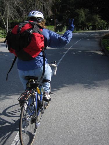 bikepath cyclist sunday neighborhood backpack outing