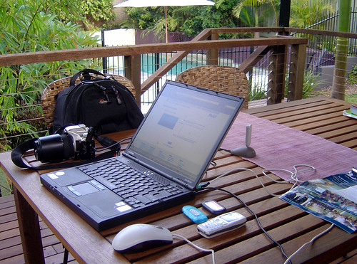 Home office on back deck by RaeA, on Flickr