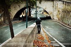 Man with Mobile Phone, Paris, France (Seven Seconds Before Sunrise) Tags: street travel bridge people urban man paris france leaves mobile europe cellphone