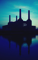 Battersea Blue (naughton321) Tags: blue reflection building london thames architecture river searchthebest pinkfloyd battersea batterseapowerstation bluelist