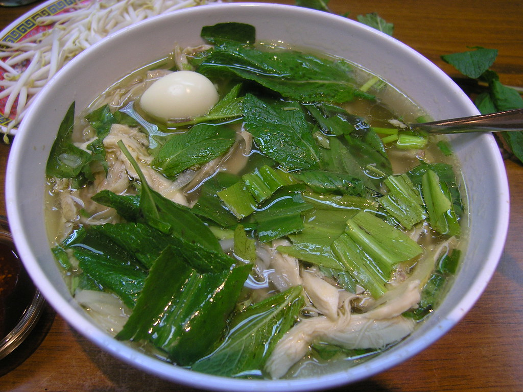 Pho ga with green herbs