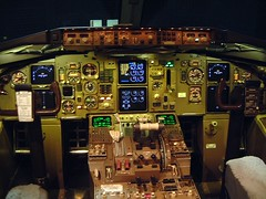 Delta Air Lines Cockpit. 757 (garyhymes) Tags: lights airport cockpit delta led seats airline controls landinggear panels boeing instruments knobs 757 dials rudder throttle jetliner yoke deltaairlines 757200 752 tcas noideasbutinthings cockpitphotos