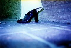 Walk in Blue (ale2000) Tags: blue two people woman white black color colour film feet girl wall fetish foot shoe cool xpro women shoes floor pants legs pavement blu cosina flash leg style ground colorsplashflash bathed crossprocessing photowalk heel bianca lowdown colorsplash eleganza favcol