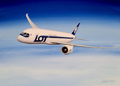 Boeing 787 Dreamliner LOT Polish Airlines. Gouache painting on paper (Greg Bajor) Tags: sky art illustration clouds plane painting airplane fly flying airport wings display drawing aircraft altitude aviation air transport flight jet lot lo aeroplane commercial transportation airline arrive boeing arrival airways gouache gregory airlines scheme atmospheric airliner airliners aerospace livery 787 birdlike bajor lotpolishairlines dreamliner aviationart wingslet birdlikeimages gregbajor