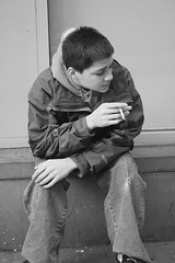 Young Boy with Cigarette (Miriam J) Tags: street white black kids youth children photography kid cigarette smoke cancer documentary kinder smoking teen smoker tabak sigaret underage raucher tabacco finalproject zigarette fumo rauchen fumare kippe nikotin lungenkrebs tutun childrensmoking smokingkids fumeaza kinderrauchen