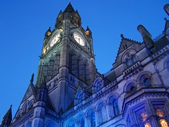 Looking up (Neil101) Tags: street blue windows light england music clock festival architecture easter square manchester lights town hall interesting play kodak albert gothic neil illuminated lookingup most bbc passion townhall clockface albertsquare wilkinson z740 manchesterpassion neilwilkinson neil101 bbcmanchesterblog bbcredbutton