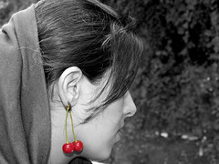 A girl with cherry earing (Farhang.) Tags: red color girl cherry tehran darband earing farhang farhanghaghighat