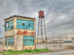 Saginaw Texas US Army Aircraft Plant Checkerboard Water Tower Broken Teal Glass Windows Chain Link Fence Cloud Shear 91826 (David Kozlowski) Tags: windows sky building brick abandoned beautiful clouds fence gate all photographer teal unique watertower panes chainlink rights behind chainlinkfence reserved awardwinning distinctive ©david kozlowski explore20apr06 saginawtexas exposuredallas tophdr exposurenetwork dallasphotoworks davidkozlowski dallasphotoworkscom dallasphotographer fortworthphotographer bluemoundtexas armyaircraftfacility westandclear