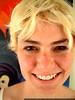 bleach-blonde rachel smiling in front of megan's painting - dscf5589
