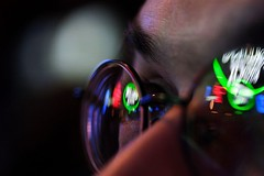blosser's beer goggles (shoothead) Tags: friends people reflection beer boston closeup bar night nose glasses eyes lowlight bokeh availablelight canon20d eyebrow portfolio payitforward canonefs60mmf28usmmacro shoothead top20bokeh top20bokehhof