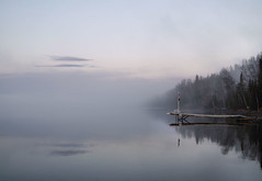 Dock in the Mist (Sharon Mollerus) Tags: mist ontario canada ilovenature dawn dock greatlakes lakesuperior thunderbay cloudbay qd10