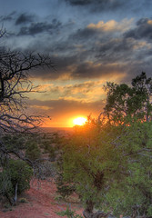 Moab Sunset (Scott Ingram Photography) Tags: camping sunset red sky orange usa sun southwest nature topf25 beauty clouds canon ilovenature utah sand colorful explosion 100v10f sage northamerica moab 300 hdr 1000 s50 bestofthebest hyperreal photomatix tonemapped lovephotography tthdr hdrsurreal photodotocontest1 25faves sipbotbfs slickrframe