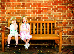 stopping to smell the roses (-Angela) Tags: bench spring afternoon bricks siblings snack williamsburg mykids familytime