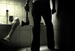 Killing In The Name Of (stublog) Tags: shadow bw favorite white selfportrait black guy topv111 bathroom nikon kill d70 personal leg suicide multiplicity psycho killer slaughter horror axe murder bathtub ax axt brutal dispatch slay horrorshow bwdreams 123bw