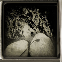 Rock and little bell (maguaphotos) Tags: bw abstract art 120 film nature mediumformat polaroid holga lomo doubleexposure toycamera surreal pinhole plastic diana agfa holgaroid pinholga displayedinstant100best