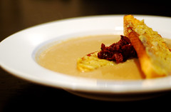Roasted Garlic Soup with Truffled-Honey Garlic Crostini and Warm Olive Tapenade (ilmungo) Tags: food cooking soup yummy olive delicious olives garlic croutons healthyfood roastedgarlic toasted tapenade crostini garlicsoup garlicconfit olivetapenade roastedgarlicsoup