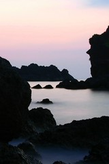 seascape (Farl) Tags: longexposure travel pink sea beach water colors night bay coast sand waves philippines blues limestone gravel slowshutterspeed batanes baluarte batan coralstone phototip