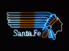 Santa Fe (Curtis Gregory Perry) Tags: santa old railroad vegas light signs classic luz glass sign night train vintage advertising licht neon glow bright lasvegas lumire nevada tube tubes rr ne retro nv signage glowing fe dying luce muestra important signe sinal neons  zeichen non segno     teken     glowed    neonic