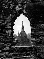 Belles of the Ball (Ayuttaya Ruins, Thailand) (chriscab) Tags: sculpture window stone bells thailand temple ruins bricks kingdom ayutthaya touristsites lpvintage lpwindows lpwindows2