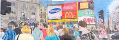 Drawing of Piccadilly Circus in July 2000. (Steve Brandon) Tags: street england people london art boots drawing crowd gap samsung panoramic mcdonalds piccadillycircus sanyo cocacola coloredpencils scenes  streetscenes tdk nescaf pencilcrayons colouredpencils