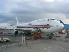 Thai Boeing 747, Kastrup Airport, Copenhagen (NickZse) Tags: travel copenhagen denmark airport air australia backpacking thai boeing australien 747 kastrup