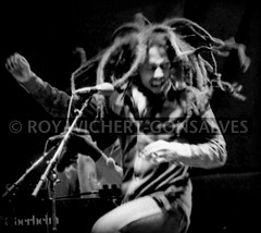 Bob Marley shakes his dreadlocks (Calinago) Tags: bw musician black blur berlin celebrity dreadlocks germany dancing stage offshore  archive bbc onstage historical sw dread portfolio reggae marley bobmarley inmemoriam stagelight may11 thedayhepassedaway calinago seenby june80