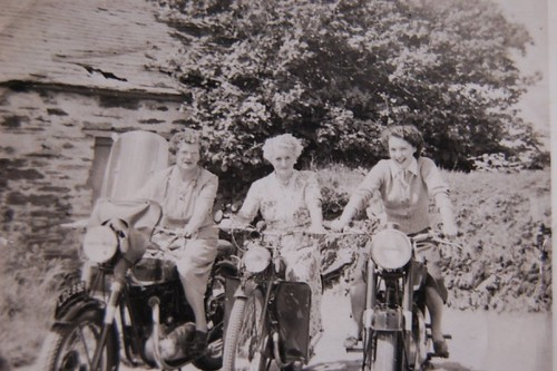 Mum, Nana and Maggie on motorbikes