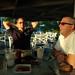 Kellee and Scott, sunset light, pool bar