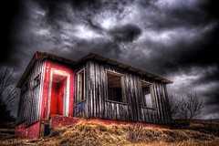 Odd choice of color ... (asmundur) Tags: pink house abandoned iceland scary cottage hdr darksky photomatix may2006 3exposures