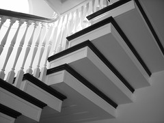 A world of color awaits above (WigglyMan) Tags: blackandwhite church stairs ascending 5hits nikonstunninggallery quiltideas