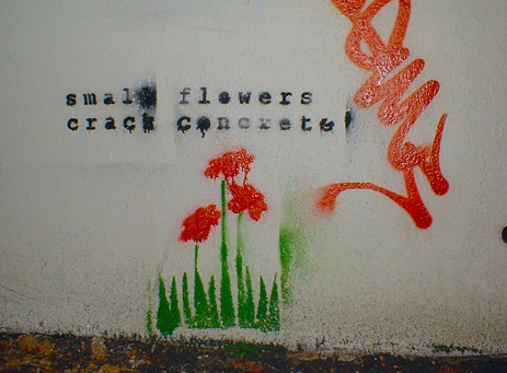 "graffiti of green grass with small red flowers poking up and the text, in black, ""small flowers / crack concrete"""