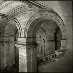 New York Public Library Grand Stair (T. Scott Carlisle) Tags: nyc light newyork 6x6 stone stairs library arches hasselblad toned 3200 tsc tphotographic tphotographiccom tscarlisle tscottcarlisle