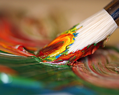 paint brush mixing colors