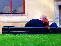 Tenderness (francesbean) Tags: travel woman man castle love bench interestingness couple europa europe affection sparkle sit slovensko slovakia bratislava tenderness bratislavacastle bratislavskyhrad