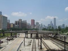 Skyline (KoalaCookie) Tags: chicago skyline traintracks surreal hazy