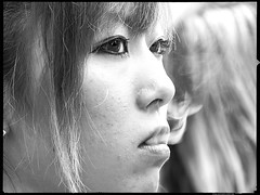 Waiting-to-Exhale (Danz in Tokyo) Tags: leica people bw white black girl japan japanese tokyo asia candid smoke breath shibuya smoking  nippon  breathing fz30 nozoom danz angkorsingle girlabouttoexhalesmoke