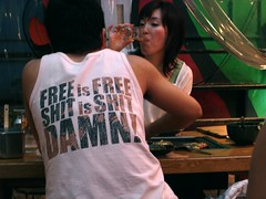 Free is Free tee (febpanda) Tags: travel people japan bar restaurant tokyo asia humor young drinking free tshirt engrish damn nightlife recreation language socializing foreign