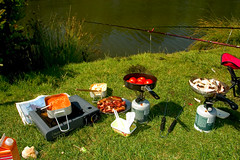 any time any where (lomokev) Tags: camping food cooking breakfast canon mushrooms eos bacon suffolk fishing 300d tomatoes egg cook sausage eos300d fryup fishingtrip scrambledegg fullenglish breaky filecrw6283