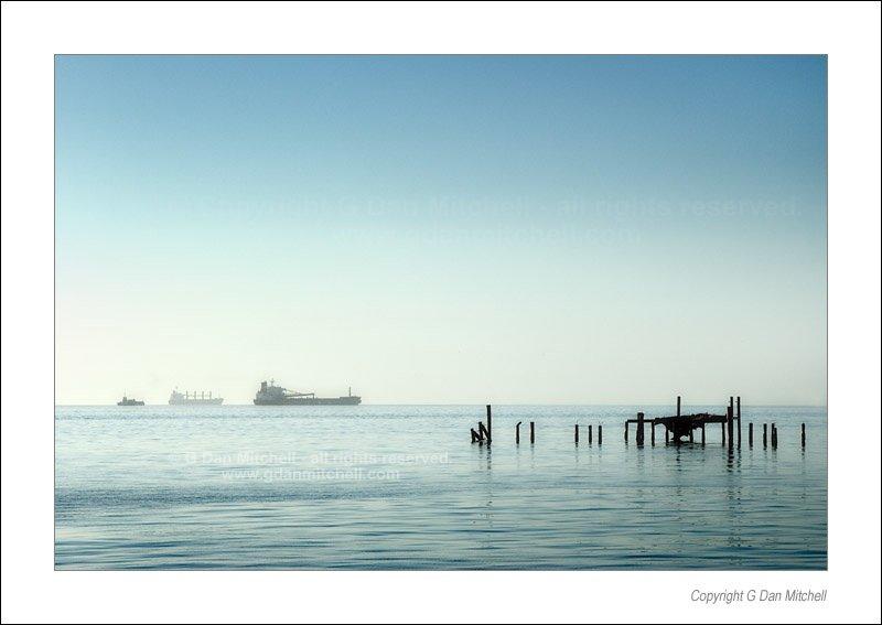 Three Ships at Anchor, San Francisco Bay
