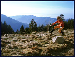 jump (panta rhei.) Tags: mountains jumping movement action caughtintheact schwarzwald blackforest obstacle leaping