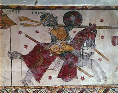 Combat between William of Orange and the Giant Ysore France, late 13th century. Tour Ferrande, Pernes-les-Fontaines According to a long chanson de geste, or verse poem, written a few centuries later, Ysore was the ruler of the Muslim-held city of Coimbra (medievalpoc) Tags: orange paris france art history poetry military battle scene william fresco coimbra 1200s ysore