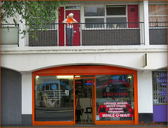 `1386 (roll the dice) Tags: door uk windows england urban orange woman london art classic westminster shop colours natural candid balcony streetphotography stranger victoria luggage flats unknown council wisdom pimlico unaware sw1 pensioner londonist churchillgardens