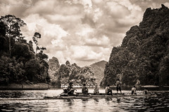 Exploring the jungle (karmajigme) Tags: travel blackandwhite lake water monochrome landscape thailand nikon noiretblanc jungle ratchaprapalake