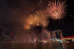 Fireworks at Marina Bay during rehearsal of the National day celebrations (sgananthan) Tags: marinabay sg50 ndp2015