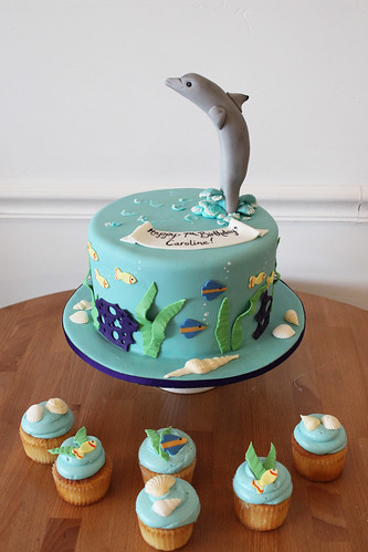 Underwater Dolphin cake and cupcakes