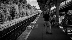 Train station (explore) (Dan Fleury Photos) Tags: people blackandwhite white black public train perspective explore amtrak rails fingerscrossed iphone explored