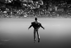 Lift me up (Marco Perico .) Tags: lift me fine art photo phtography nikon bw suspension fly city upside down world elevation ascension sky parallel universe awe wonder emotion