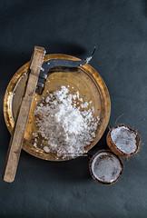 Freshly scraped coconut (color and spices) Tags: pithe poush parbon sankranti makar bengalicuisine dessert sweet potato jaggery rangalur puli