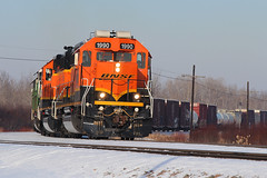 To the mills of Minnesota (view2share) Tags: bnsf1990 bnsf bnsfrailway burlingtonnorthernsantafe sd402 emd electromotivedivision engine grandrapidslocal lakessub lakessubdivision bnsflakessub deansauvola january162017 january2017 january 2017 snow snowfall cold winter afternoon railway rr railroading railroad railroads rails railroaders rail rring roadtrip freight freighttrain freightcars track transportation tracks trains transport trackage train trees wi wisconsin yard superior 28thstyard 58thst curve