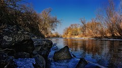 Nahe on the rocks (Parchman Kid (Jerry)) Tags: nahe river gensingen germany winter cold blue gold color colors trees water chill ice frozen parchmankid parchman kid sony a6000
